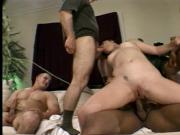 Dirty slut gets DP and dick in her mouth by three horny dudes