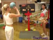 Blonde bdsm tits Cindy and Amber banging each other in the gym