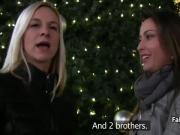 Sisters fuck big cocks in public