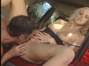 Large breasted blonde cock sucker loves getting filled up with big dick outdoors