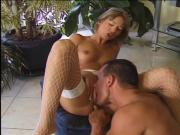 Fish nets slut is doing a strip tease and rubbing herself and getting fucked