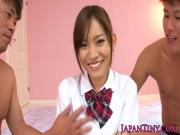 Japanese babe fingered before getting rimjob