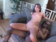 Big black dude drills brunette hard in her tight little anus