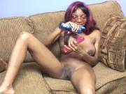 Girl sits on dildo to fuck her pussy fast and hard on sofa