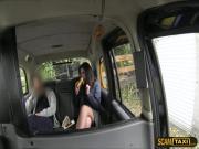 Hottie brunette chick gets creampie in the backseat