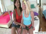 Sexy Dana and Chloe plays with toys in warm up for the real guy