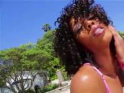 Hot and pretty black slut Misty Stone sucks huge cock