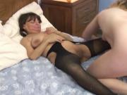 Middle aged whores fuck each other with huge dildos