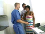Kim is a brunette virgin who with her man gets her pussy inspected by her doctor