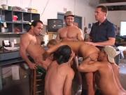 A fully satisfy blonde girls got an orgy sex on a working table