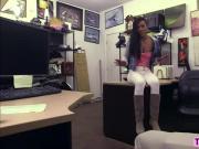 Sexy booty ebony teen stroke smooth handjob and deepthroat stiff cock