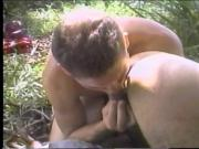 Horny guy taking dick in his ass and gives BJ in a tree and gets creamed