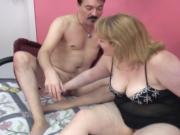 Sexy bbw blonde housewife in lingerie gets fucked by lucky moustache man