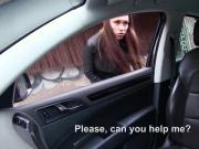 A lucky hunk stranger fucks sexy stranded teen Victoria in the car