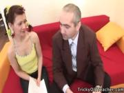 Perverted old teacher seduces cute young coed