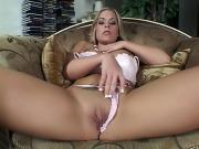 Hot blond rubbing her pussy