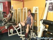 Muscled amateur gym dudes