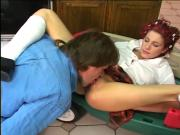 Tattooed young babysitter gets her pussy licked on the floor
