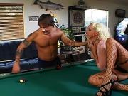 Randy whore fucked hard on pool table