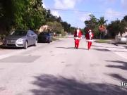 Costumed tranny group fucked for christmas
