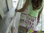 Desperate brunette teen Isabella De Santos blows cock in the public for a couple of bucks