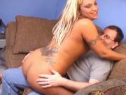 Horny Lexxi Meyers with huge tramp stamp geting her pussy fucked after BJ