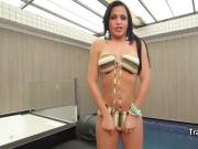 Latina shemale banging by the pool