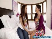 Lez teen and stepmum kiss