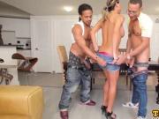 Busty tranny cockriding in interracial trio