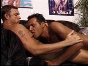 Two beefy men on a couch in a gym room get each other off