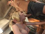 Busty blonde lets guy eat her pussy by fire