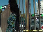 Ebony glamour tranny jerks pierced cock