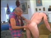 Bald white guy takes hard cock down his throat