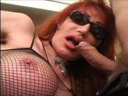 Tall tranny wearing sunglasses gets fucked by older guy