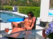 Hot brunette pleases business man and takes load outdoors