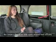 Long haired amateur bangs in British fake taxi