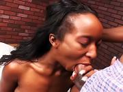 Ebony teen gets her wet pussy fucked hard
