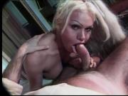 Big cum shot load for this hot blonde transexual with nice round breasts