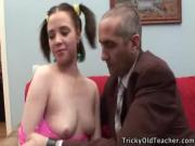 Dumb coed gets tricked by her inventive teacher