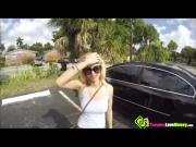 Tattooed sexy blonde Lilli Dixon boob flashing in public and gives blowjob in the car