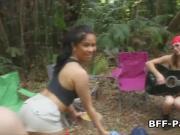 Camping teens sharing hard cock