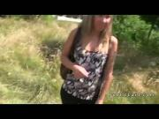 Blonde fucking in bushes outdoor pov
