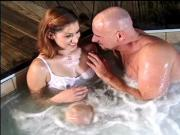 Brunette teen has sex in the hot tub