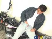 Santiago uses his motorcycle as platform for wanking