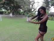 Ebony tgirl beauty tugging hard on her cock