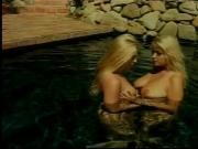 Blonde girlfriends take off bikinis for lesbo sex