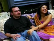 Two horny guys team up and share a Hindi hoochie babe