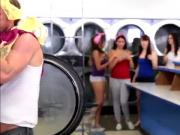 Sexy slutty teens gets fucked hard in the laundry shop