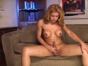 Blonde tranny fucks while rubbing herself off