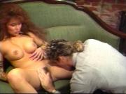 Retro big haired asian fucks by the fire place